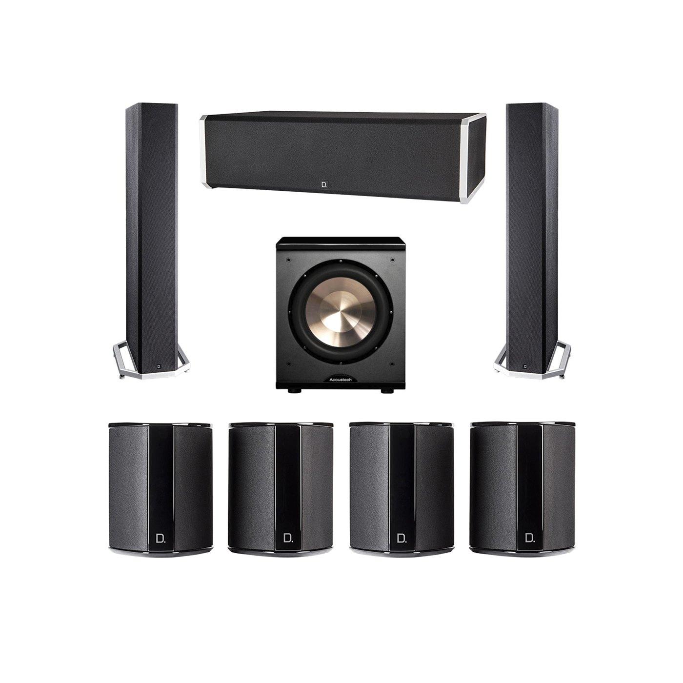 Definitive Technology 7.1 System with 2 BP9040 Tower Speakers, 1 CS9060 Center Channel Speaker, 4 SR9040 Surround Speaker, 1 BIC PL-200 Subwoofer