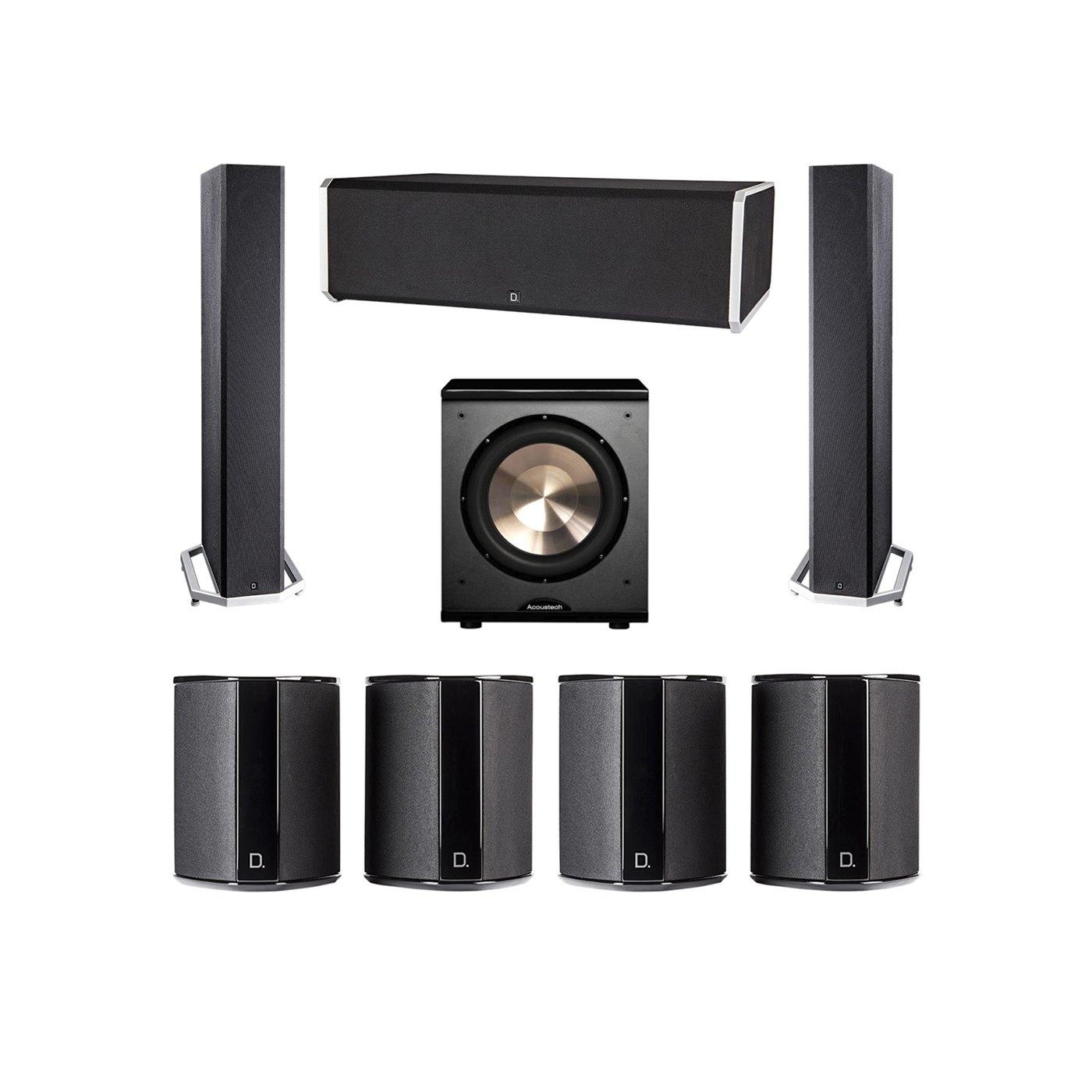 Definitive Technology 7.1 System with 2 BP9040 Tower Speakers, 1 CS9080 Center Channel Speaker, 4 SR9040 Surround Speaker, 1 BIC PL-200 Subwoofer