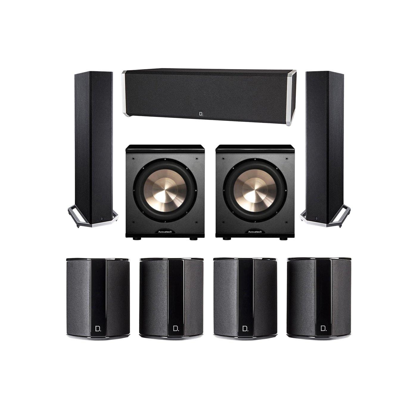 Definitive Technology 7.2 System with 2 BP9020 Tower Speakers, 1 CS9040 Center Channel Speaker, 4 SR9040 Surround Speaker, 2 BIC PL-200 Subwoofer