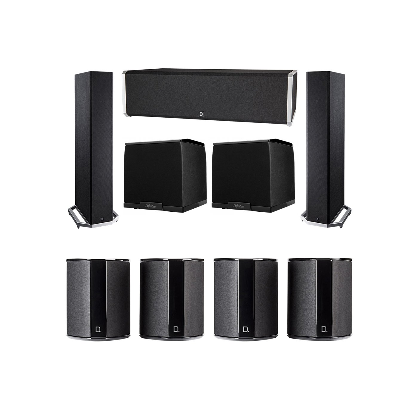 Definitive Technology 7.2 System with 2 BP9020 Tower Speakers, 1 CS9040 Center Channel Speaker, 4 SR9040 Surround Speaker, 2 Definitive Technology SuperCube 2000 Powered Subwoofer