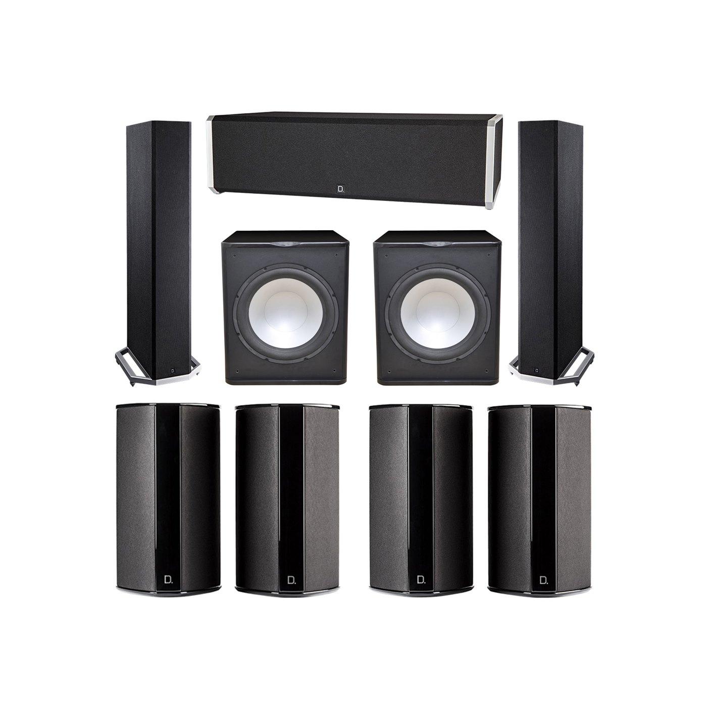 Definitive Technology 7.2 System with 2 BP9020 Tower Speakers, 1 CS9040 Center Channel Speaker, 4 SR9080 Surround Speaker, 2 Premier Acoustic PA-150 Subwoofer