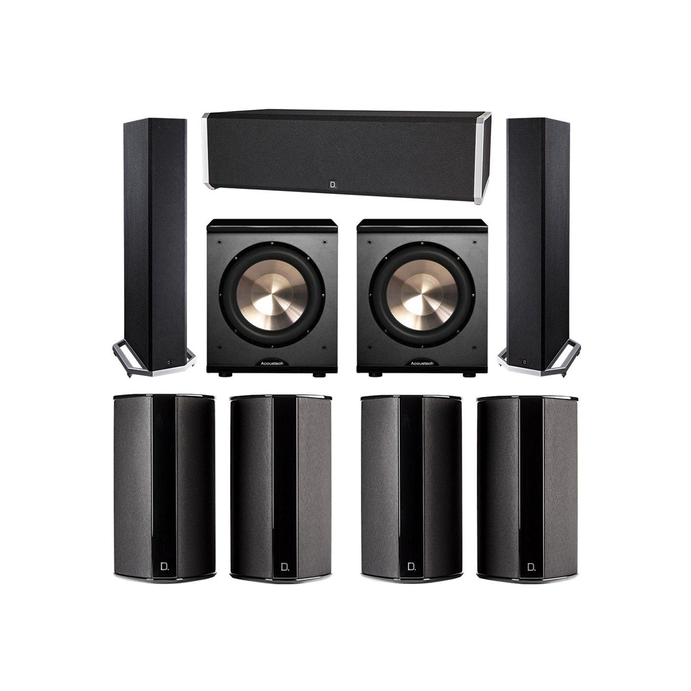 Definitive Technology 7.2 System with 2 BP9020 Tower Speakers, 1 CS9040 Center Channel Speaker, 4 SR9080 Surround Speaker, 2 BIC PL-200 Subwoofer