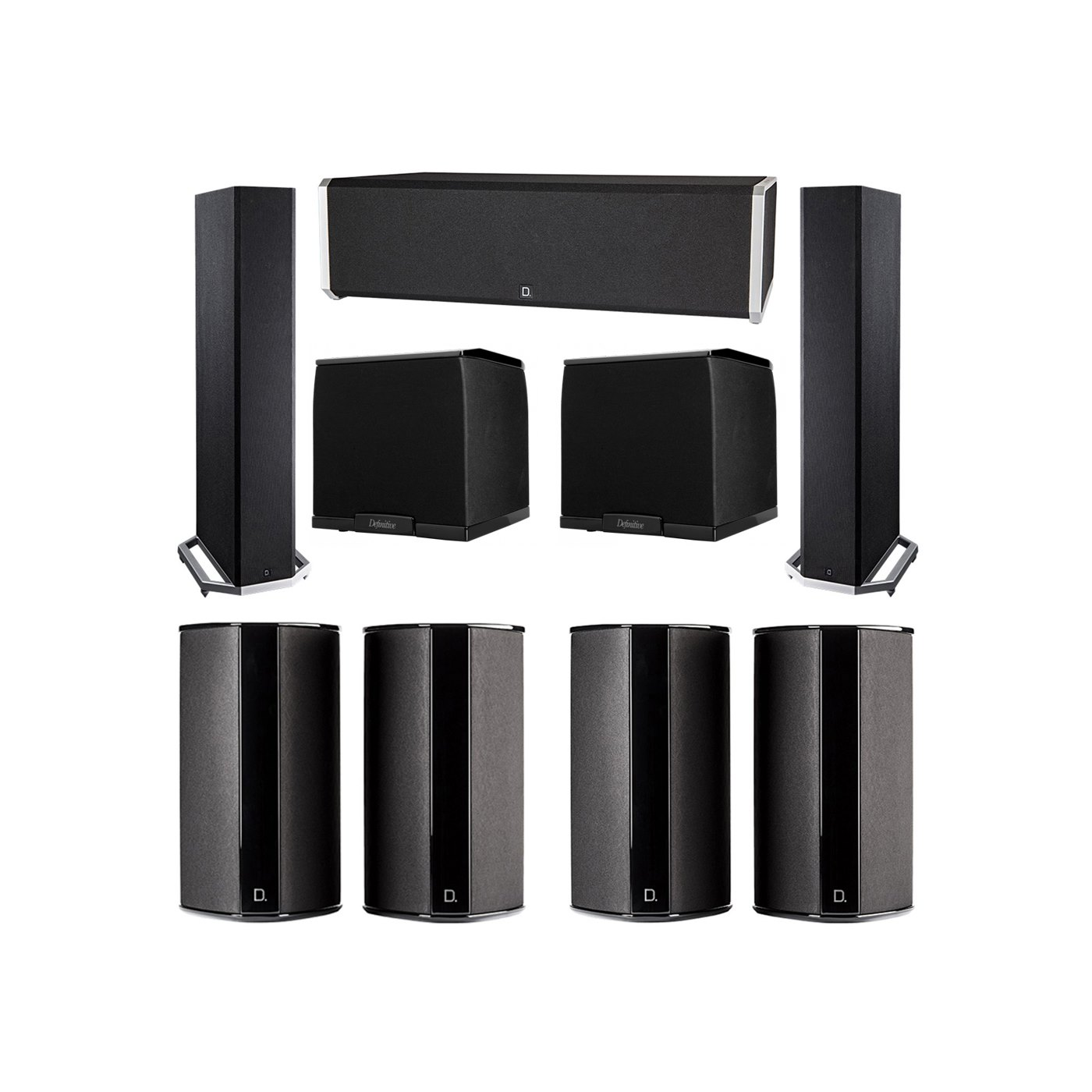 Definitive Technology 7.2 System with 2 BP9020 Tower Speakers, 1 CS9040 Center Channel Speaker, 4 SR9080 Surround Speaker, 2 Definitive Technology SuperCube 2000 Powered Subwoofer