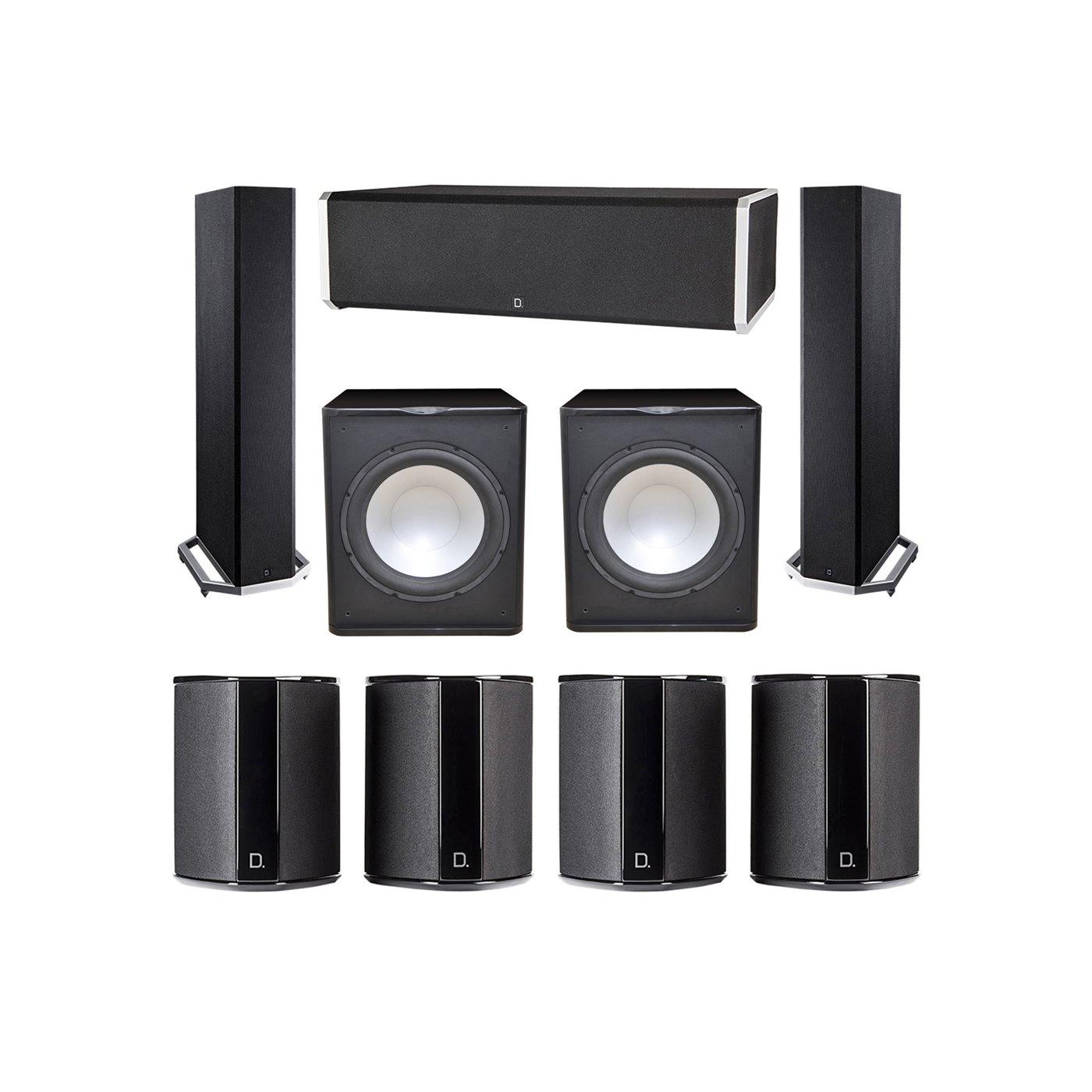 Definitive Technology 7.2 System with 2 BP9020 Tower Speakers, 1 CS9060 Center Channel Speaker, 4 SR9040 Surround Speaker, 2 Premier Acoustic PA-150 Subwoofer