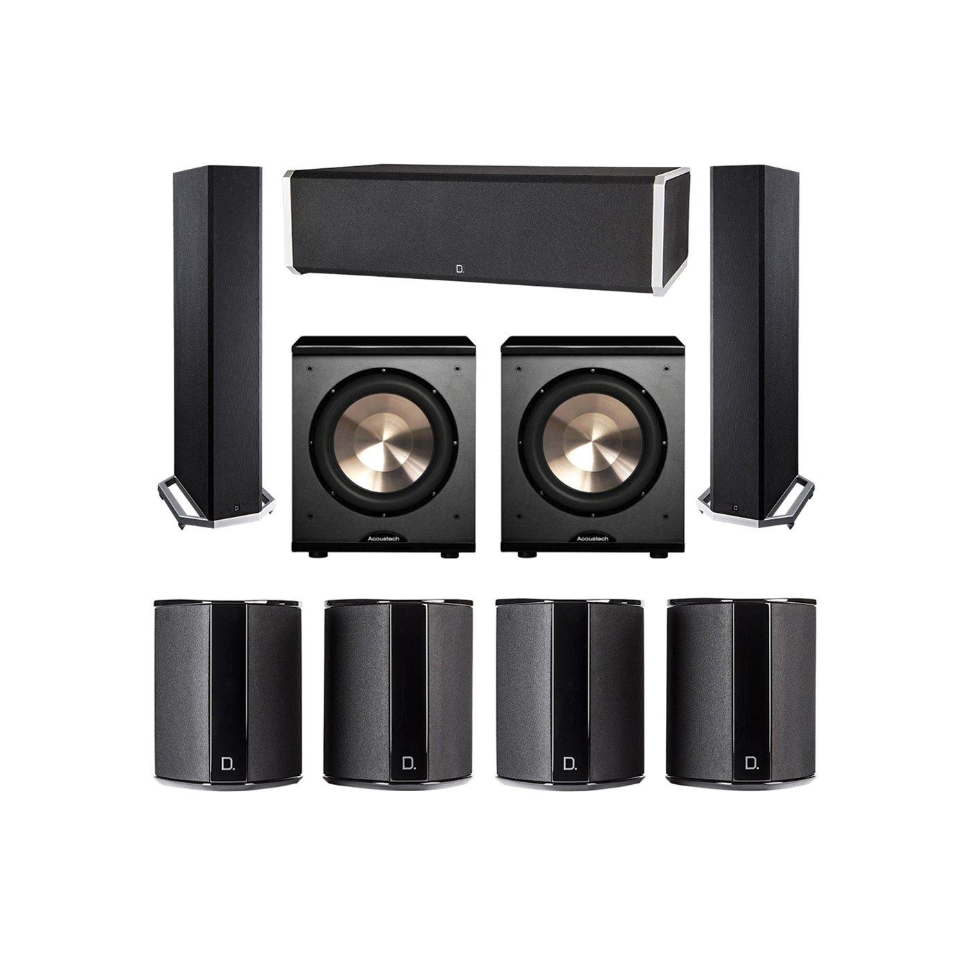 Definitive Technology 7.2 System with 2 BP9020 Tower Speakers, 1 CS9060 Center Channel Speaker, 4 SR9040 Surround Speaker, 2 BIC PL-200 Subwoofer