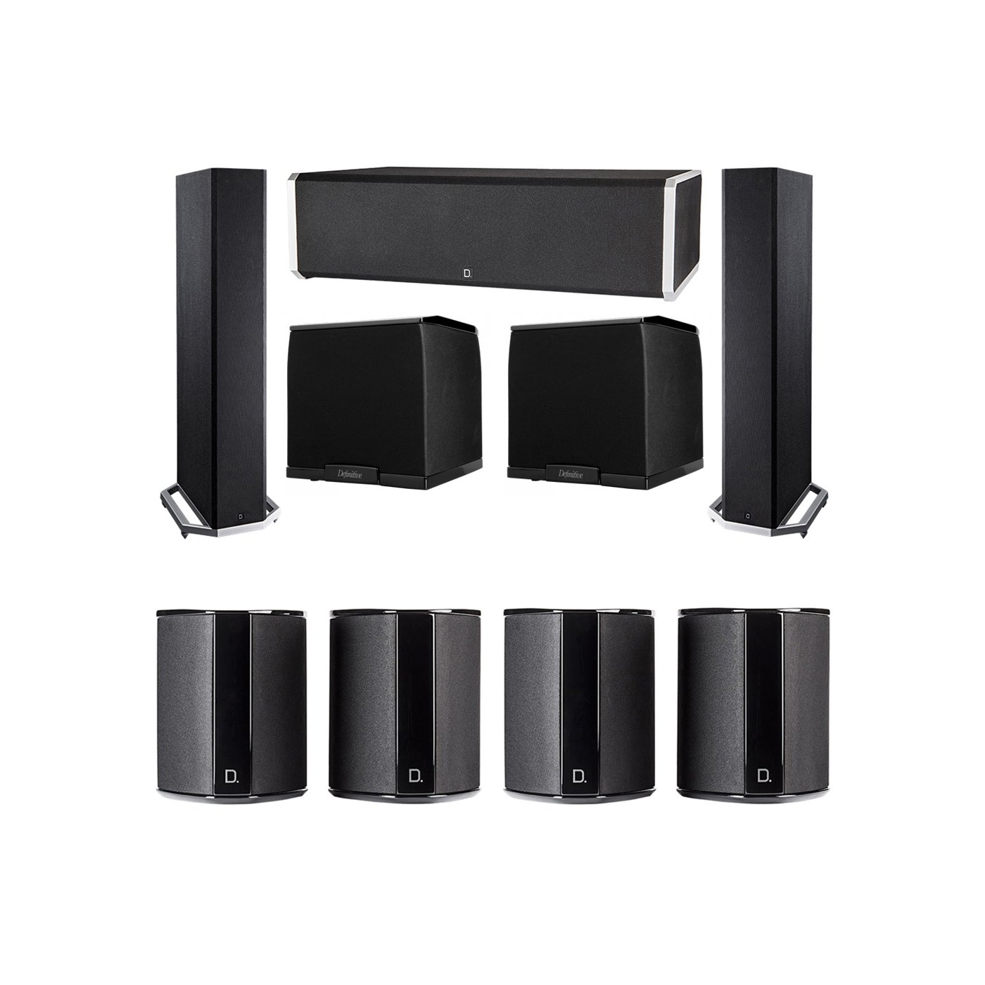 Definitive Technology 7.2 System with 2 BP9020 Tower Speakers, 1 CS9060 Center Channel Speaker, 4 SR9040 Surround Speaker, 2 Definitive Technology SuperCube 2000 Powered Subwoofer