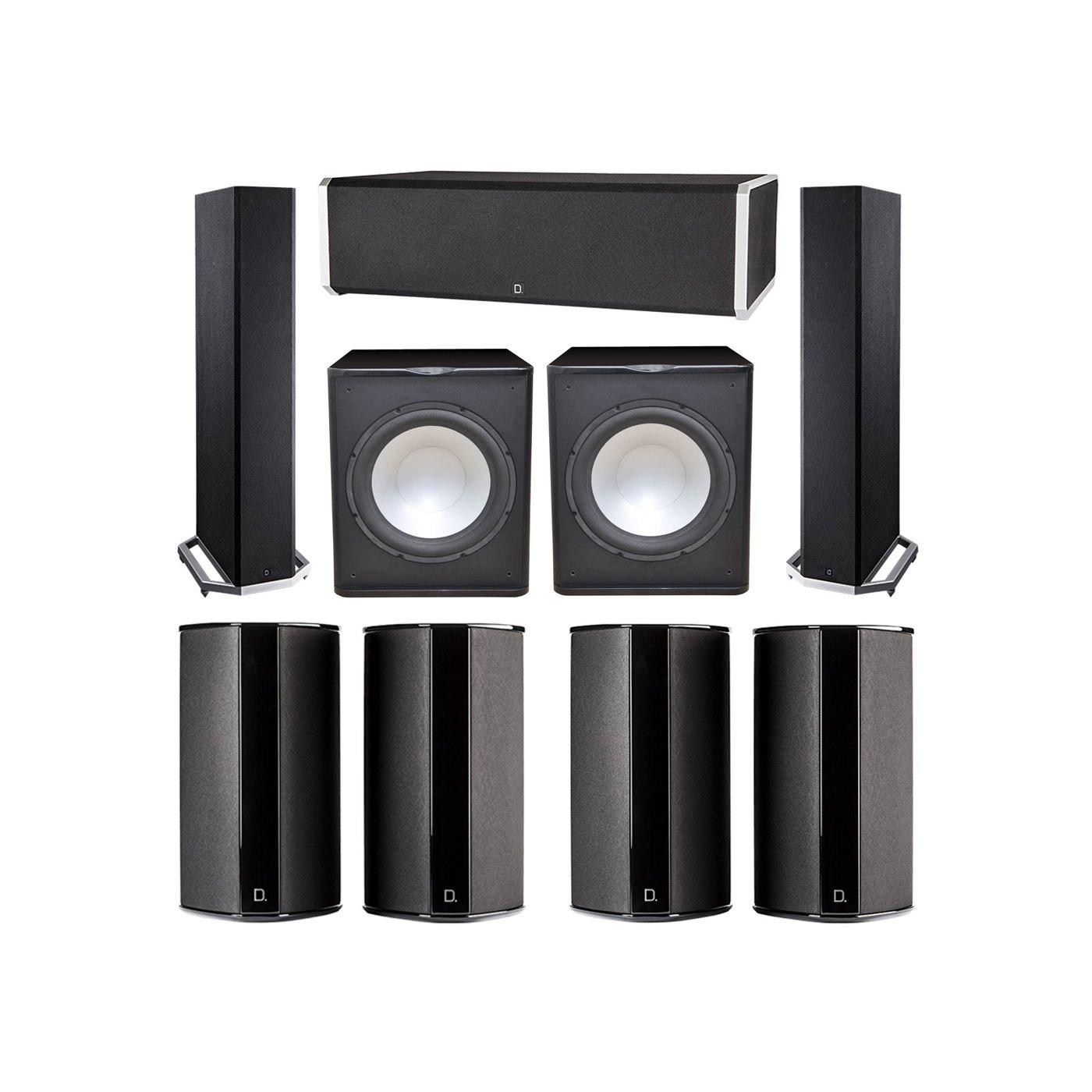Definitive Technology 7.2 System with 2 BP9020 Tower Speakers, 1 CS9060 Center Channel Speaker, 4 SR9080 Surround Speaker, 2 Premier Acoustic PA-150 Subwoofer