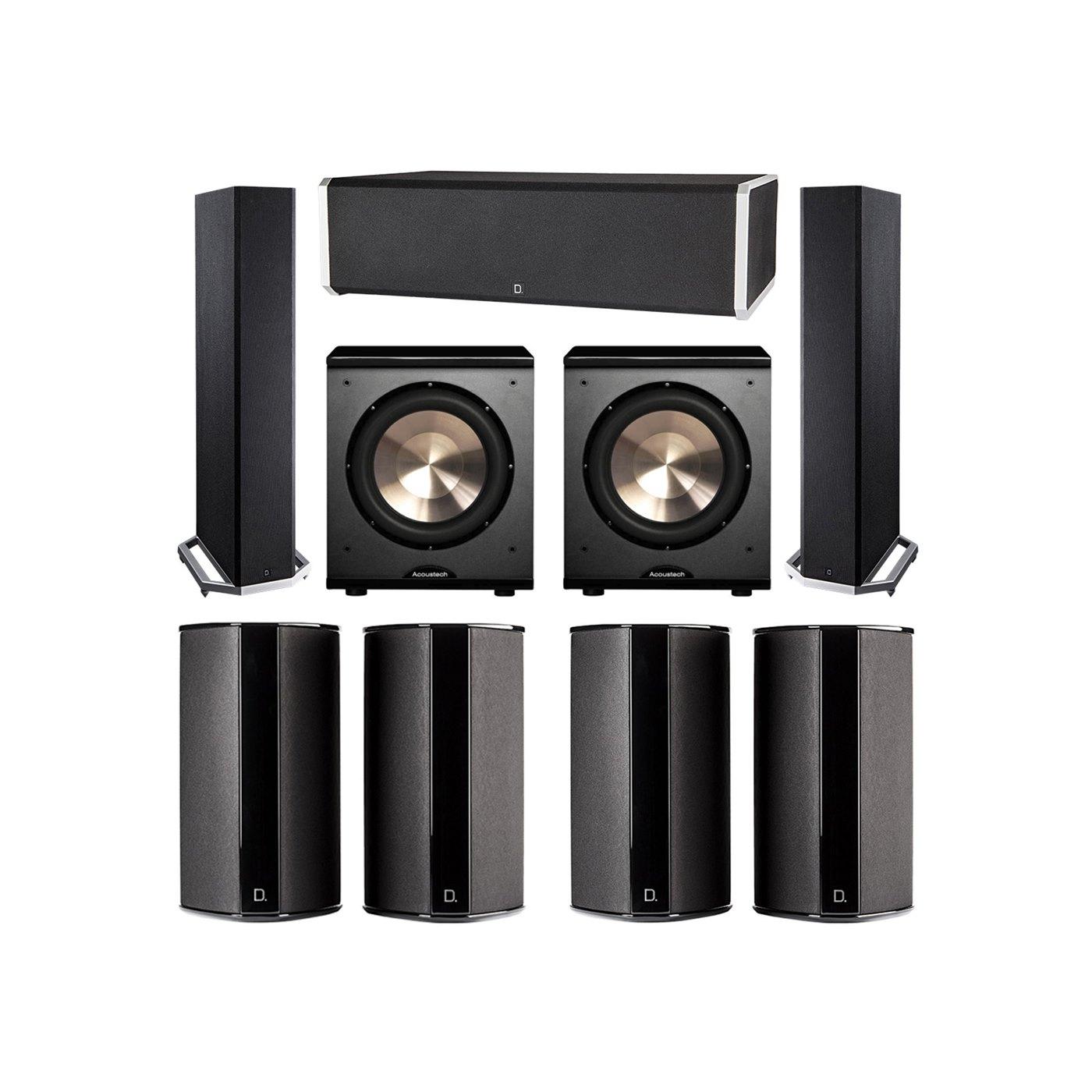 Definitive Technology 7.2 System with 2 BP9020 Tower Speakers, 1 CS9060 Center Channel Speaker, 4 SR9080 Surround Speaker, 2 BIC PL-200 Subwoofer