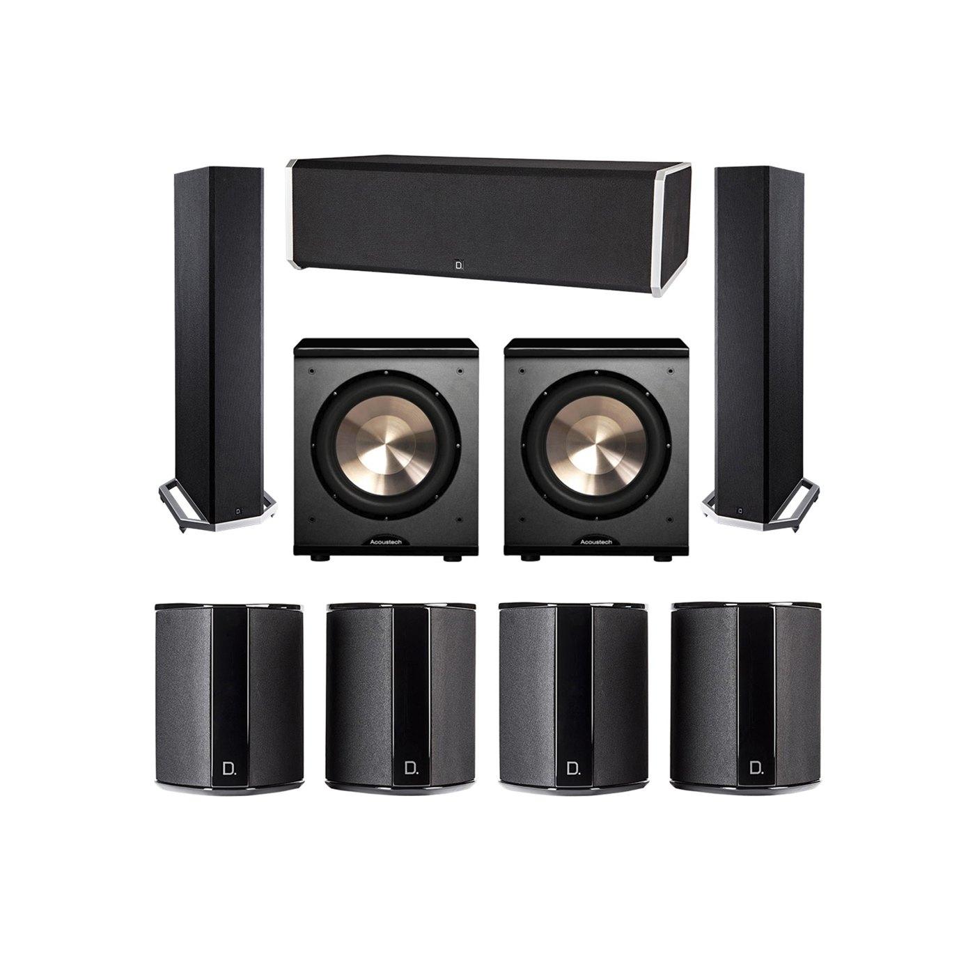 Definitive Technology 7.2 System with 2 BP9020 Tower Speakers, 1 CS9080 Center Channel Speaker, 4 SR9040 Surround Speaker, 2 BIC PL-200 Subwoofer