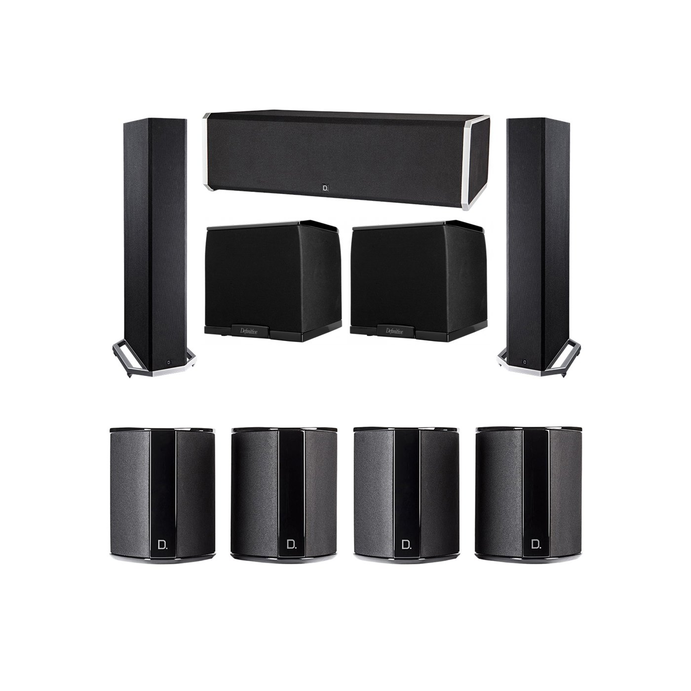 Definitive Technology 7.2 System with 2 BP9020 Tower Speakers, 1 CS9080 Center Channel Speaker, 4 SR9040 Surround Speaker, 2 Definitive Technology SuperCube 2000 Powered Subwoofer