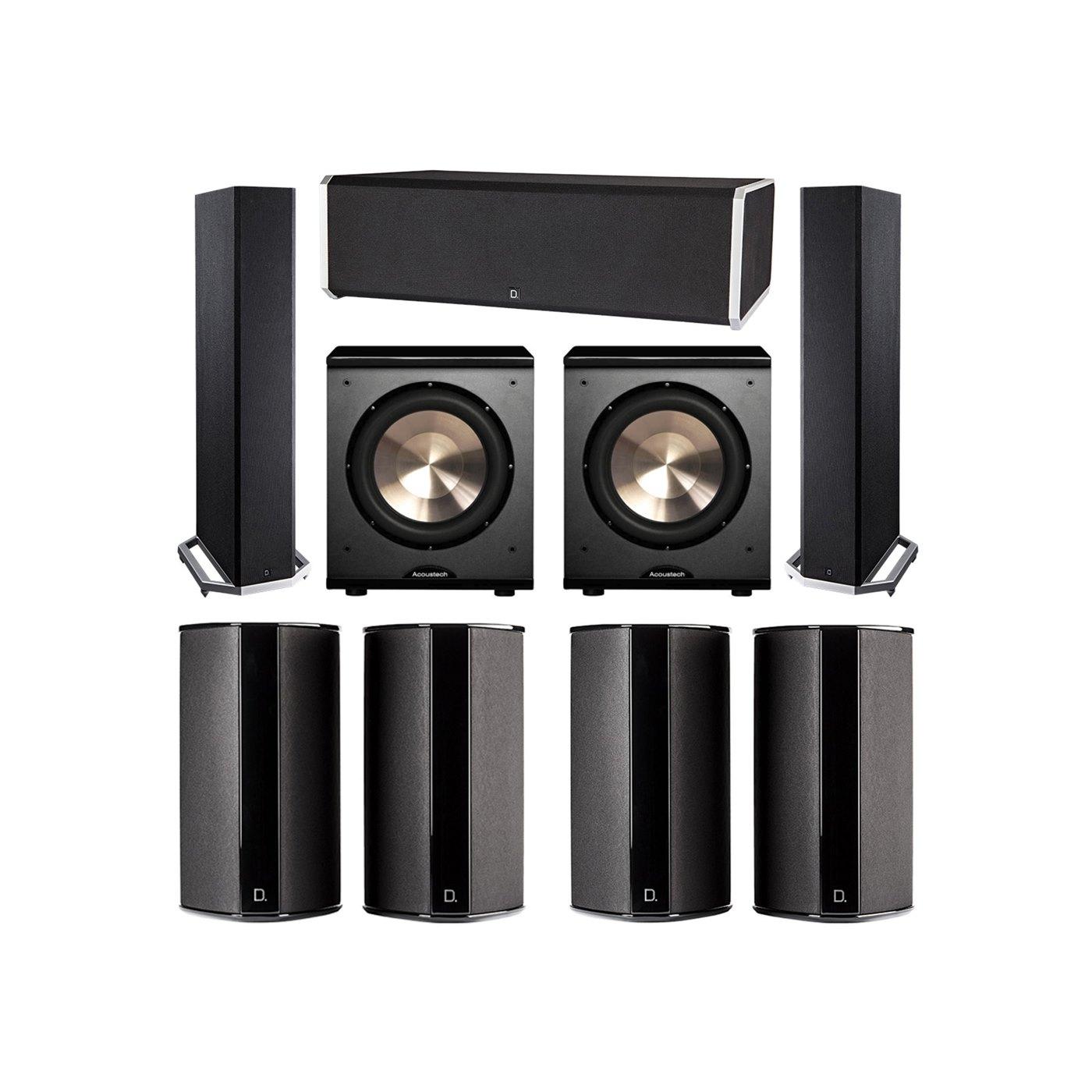 Definitive Technology 7.2 System with 2 BP9020 Tower Speakers, 1 CS9080 Center Channel Speaker, 4 SR9080 Surround Speaker, 2 BIC PL-200 Subwoofer