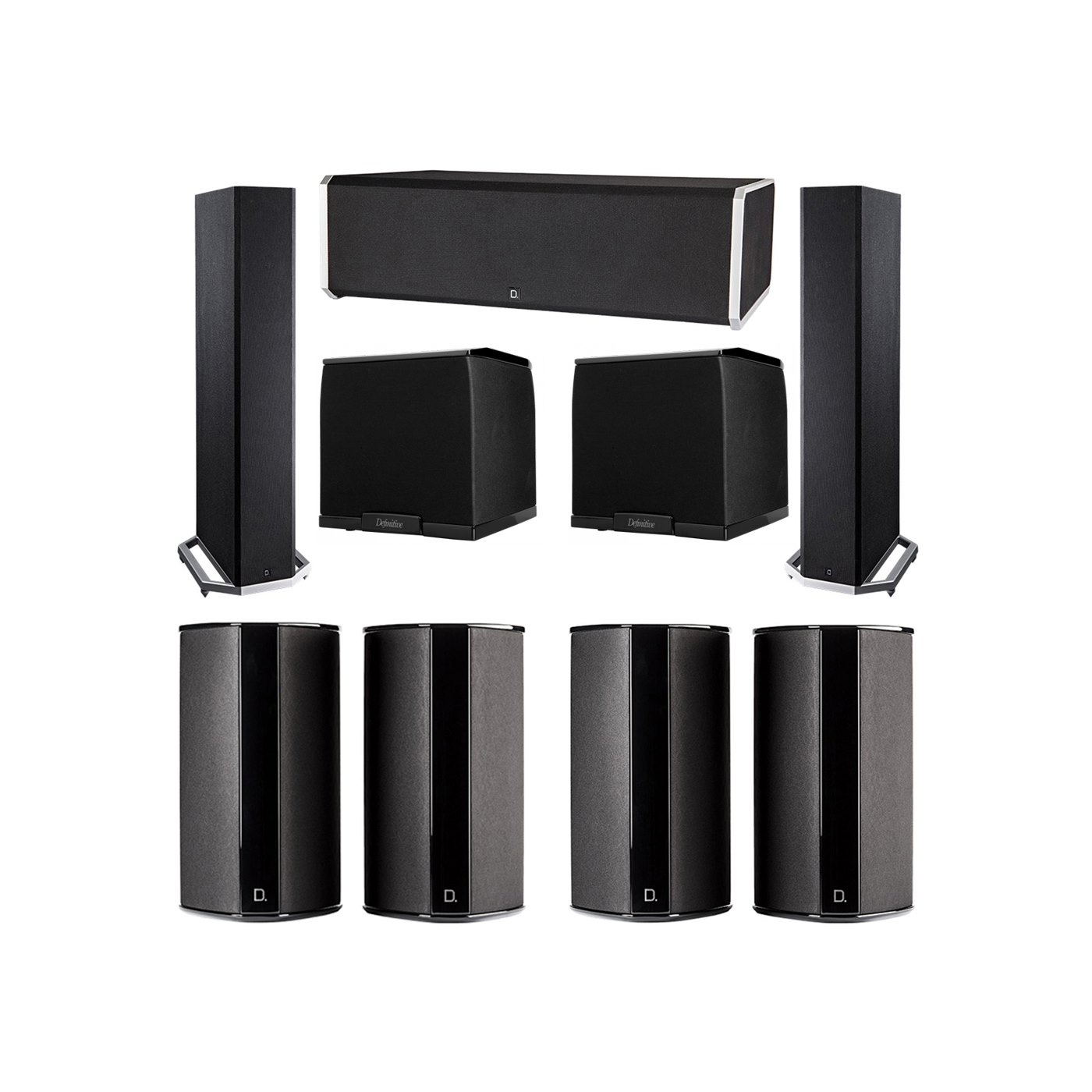 Definitive Technology 7.2 System with 2 BP9020 Tower Speakers, 1 CS9080 Center Channel Speaker, 4 SR9080 Surround Speaker, 2 Definitive Technology SuperCube 2000 Powered Subwoofer