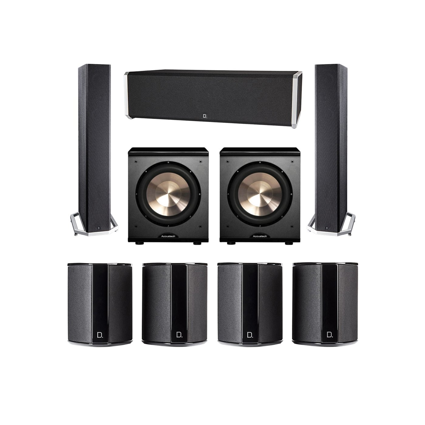 Definitive Technology 7.2 System with 2 BP9040 Tower Speakers, 1 CS9040 Center Channel Speaker, 4 SR9040 Surround Speaker, 2 BIC PL-200 Subwoofer