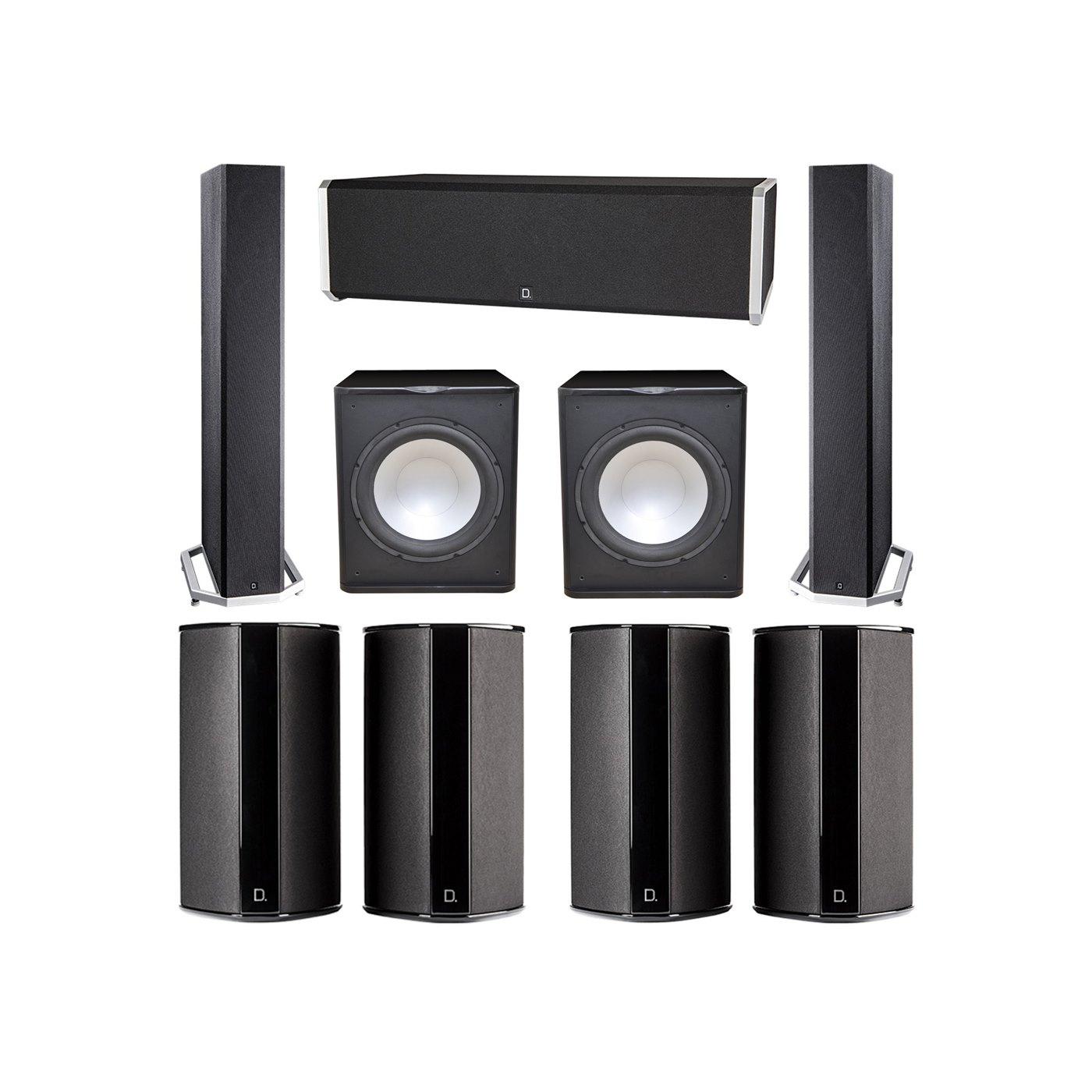 Definitive Technology 7.2 System with 2 BP9040 Tower Speakers, 1 CS9040 Center Channel Speaker, 4 SR9080 Surround Speaker, 2 Premier Acoustic PA-150 Subwoofer