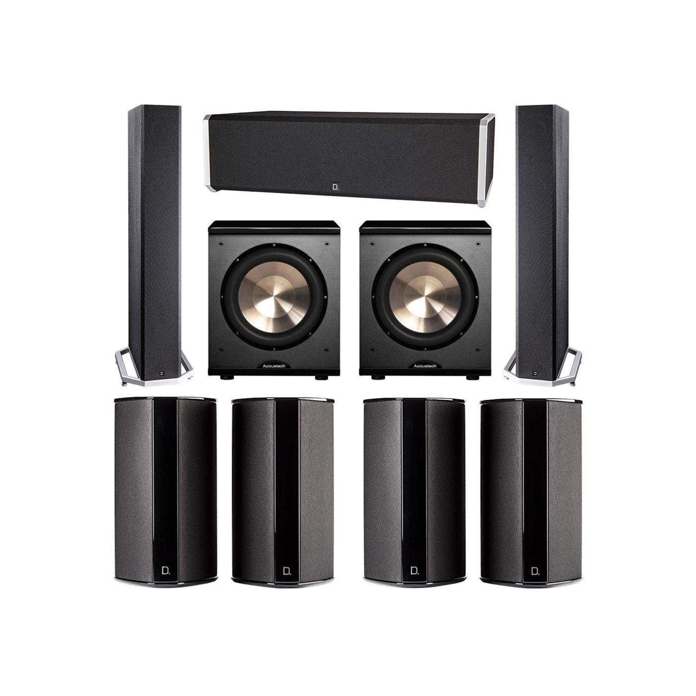 Definitive Technology 7.2 System with 2 BP9040 Tower Speakers, 1 CS9040 Center Channel Speaker, 4 SR9080 Surround Speaker, 2 BIC PL-200 Subwoofer