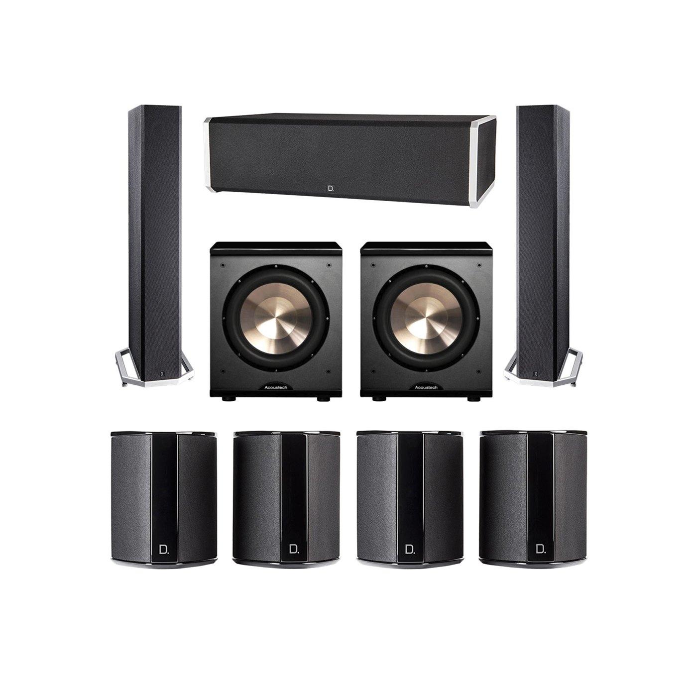 Definitive Technology 7.2 System with 2 BP9040 Tower Speakers, 1 CS9060 Center Channel Speaker, 4 SR9040 Surround Speaker, 2 BIC PL-200 Subwoofer