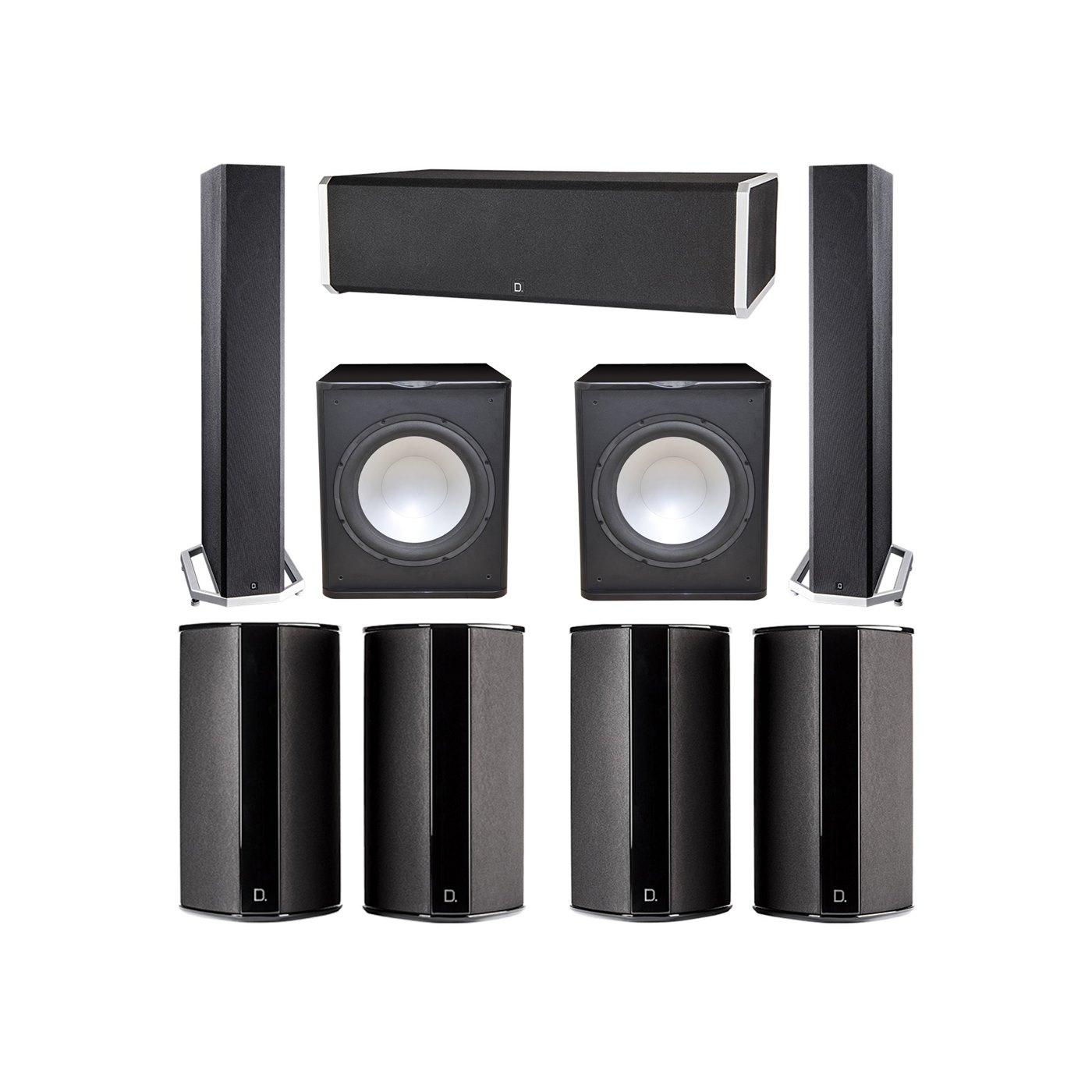 Definitive Technology 7.2 System with 2 BP9040 Tower Speakers, 1 CS9060 Center Channel Speaker, 4 SR9080 Surround Speaker, 2 Premier Acoustic PA-150 Subwoofer