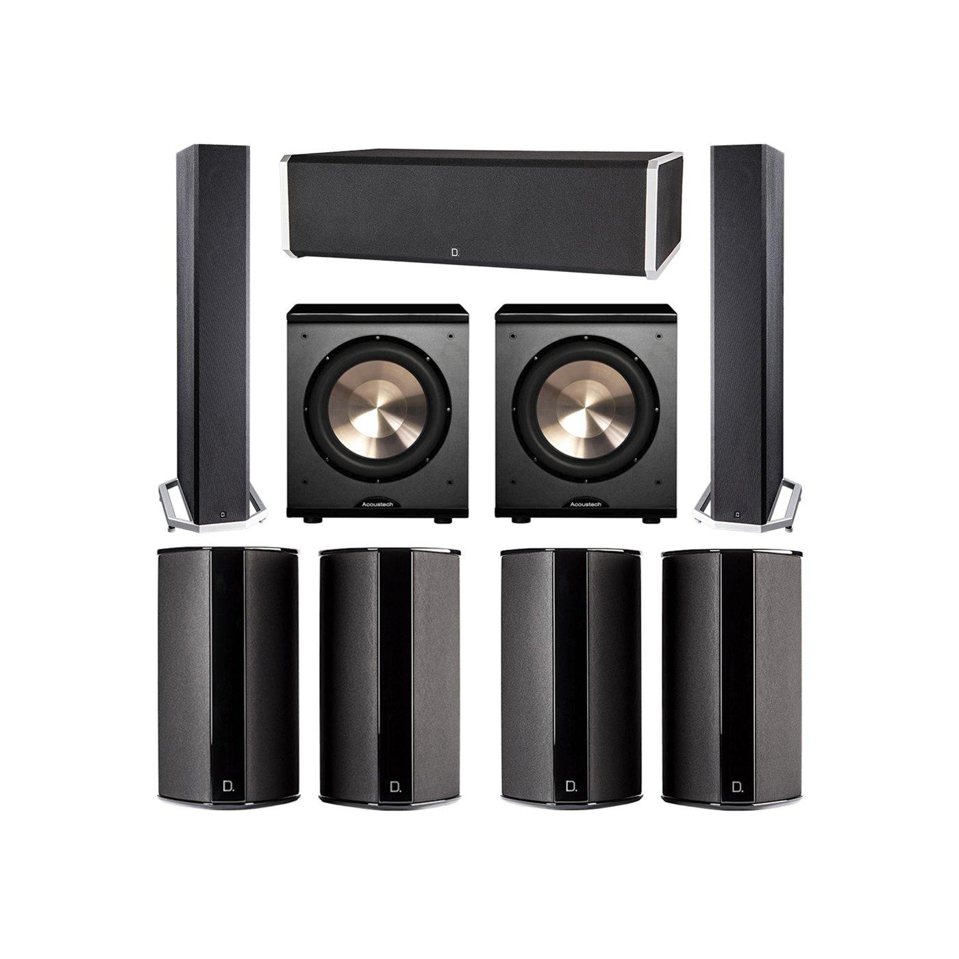 Definitive Technology 7.2 System with 2 BP9040 Tower Speakers, 1 CS9060 Center Channel Speaker, 4 SR9080 Surround Speaker, 2 BIC PL-200 Subwoofer
