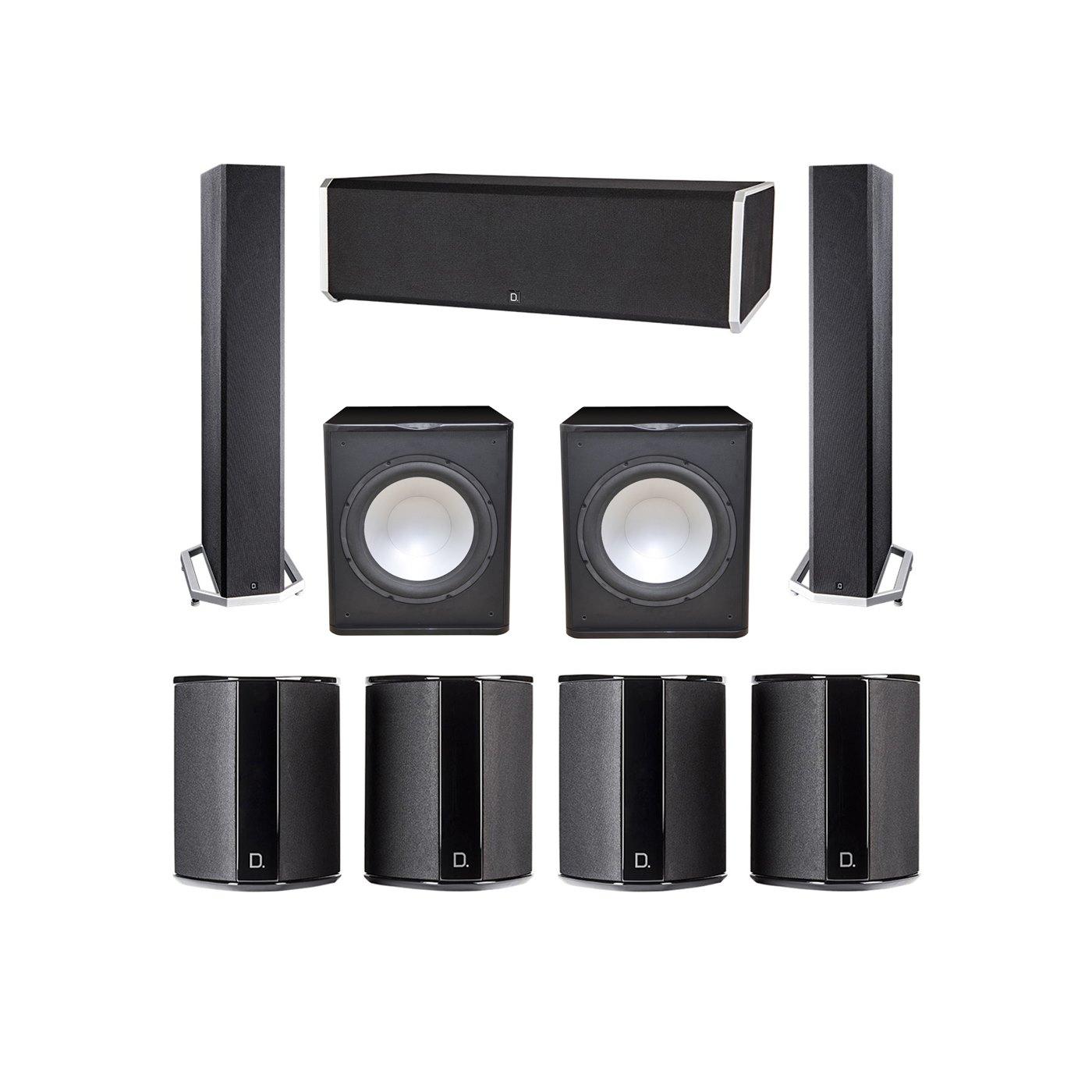 Definitive Technology 7.2 System with 2 BP9040 Tower Speakers, 1 CS9080 Center Channel Speaker, 4 SR9040 Surround Speaker, 2 Premier Acoustic PA-150 Subwoofer