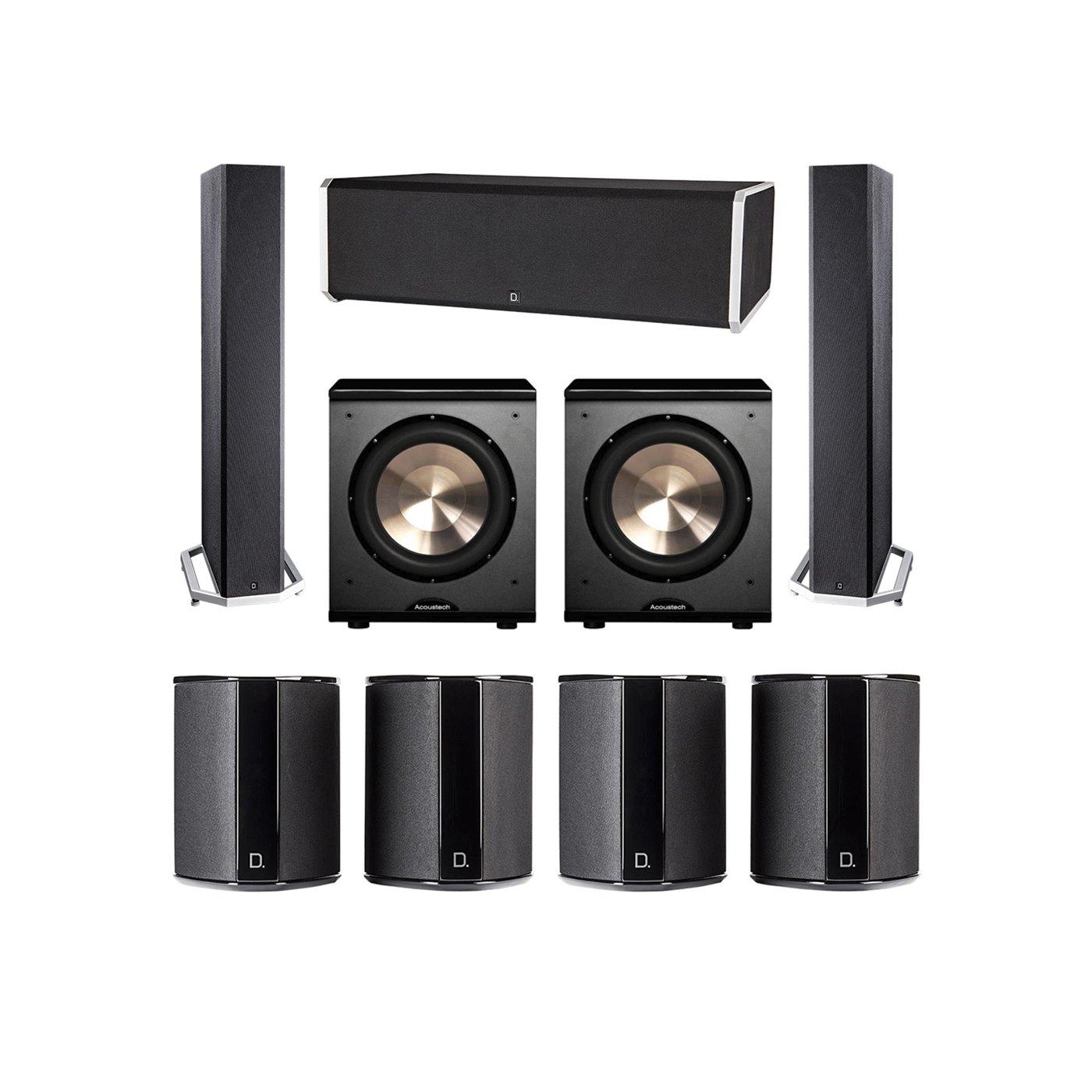 Definitive Technology 7.2 System with 2 BP9040 Tower Speakers, 1 CS9080 Center Channel Speaker, 4 SR9040 Surround Speaker, 2 BIC PL-200 Subwoofer