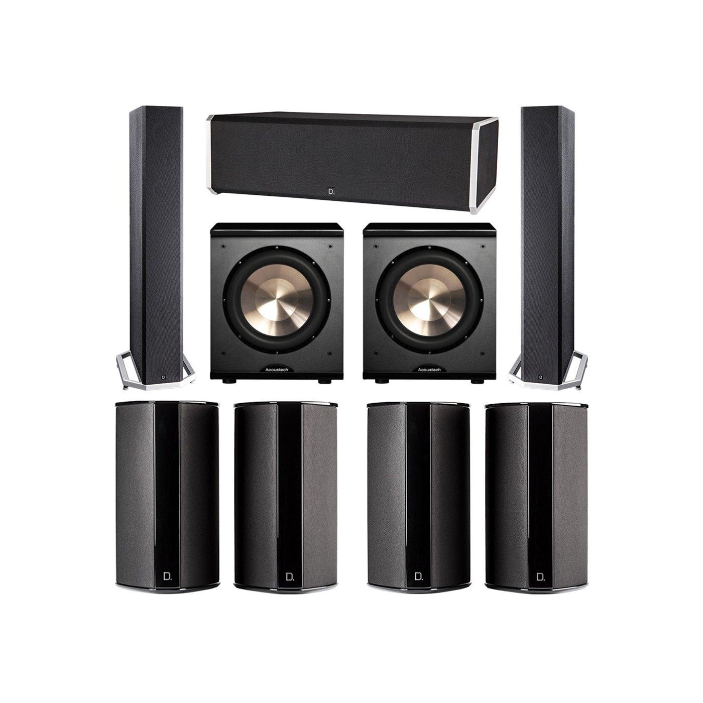 Definitive Technology 7.2 System with 2 BP9040 Tower Speakers, 1 CS9080 Center Channel Speaker, 4 SR9080 Surround Speaker, 2 BIC PL-200 Subwoofer
