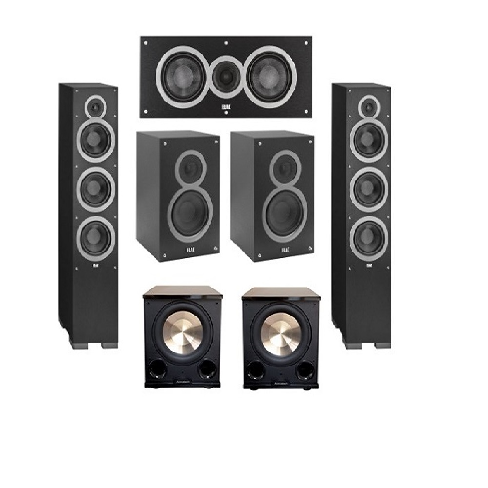 Elac 5.2 System with 2 Debut F6 Floorstanding Speakers, 1 Debut C5 Center Speaker, 2 Debut B5 Bookshelf Speakers, 2 BIC/Acoustech Platinum Series PL-200 II Subwoofer