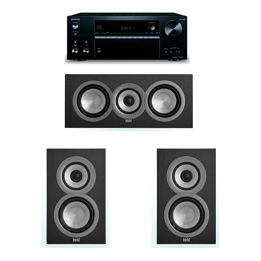 ELAC Uni-Fi 3.0 System with 2 UB5 Bookshelf Speakers, 1 UC5 Center Speaker, 1 Onkyo TX-NR676 A/V Receiver