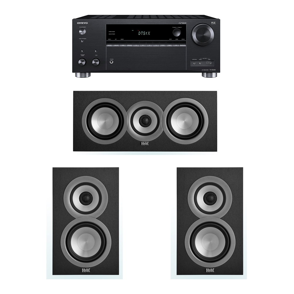 ELAC Uni-Fi 3.0 System with 2 UB5 Bookshelf Speakers, 1 UC5 Center Speaker, 1 Onkyo TX-RZ620 A/V Receiver
