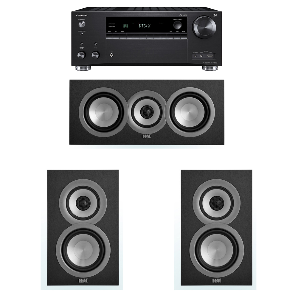 ELAC Uni-Fi 3.0 System with 2 UB5 Bookshelf Speakers, 1 UC5 Center Speaker, 1 Onkyo TX-RZ720 Receiver