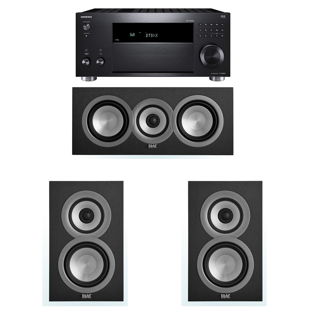 ELAC Uni-Fi 3.0 System with 2 UB5 Bookshelf Speakers, 1 UC5 Center Speaker, 1 Onkyo TX-RZ820 A/V Receiver