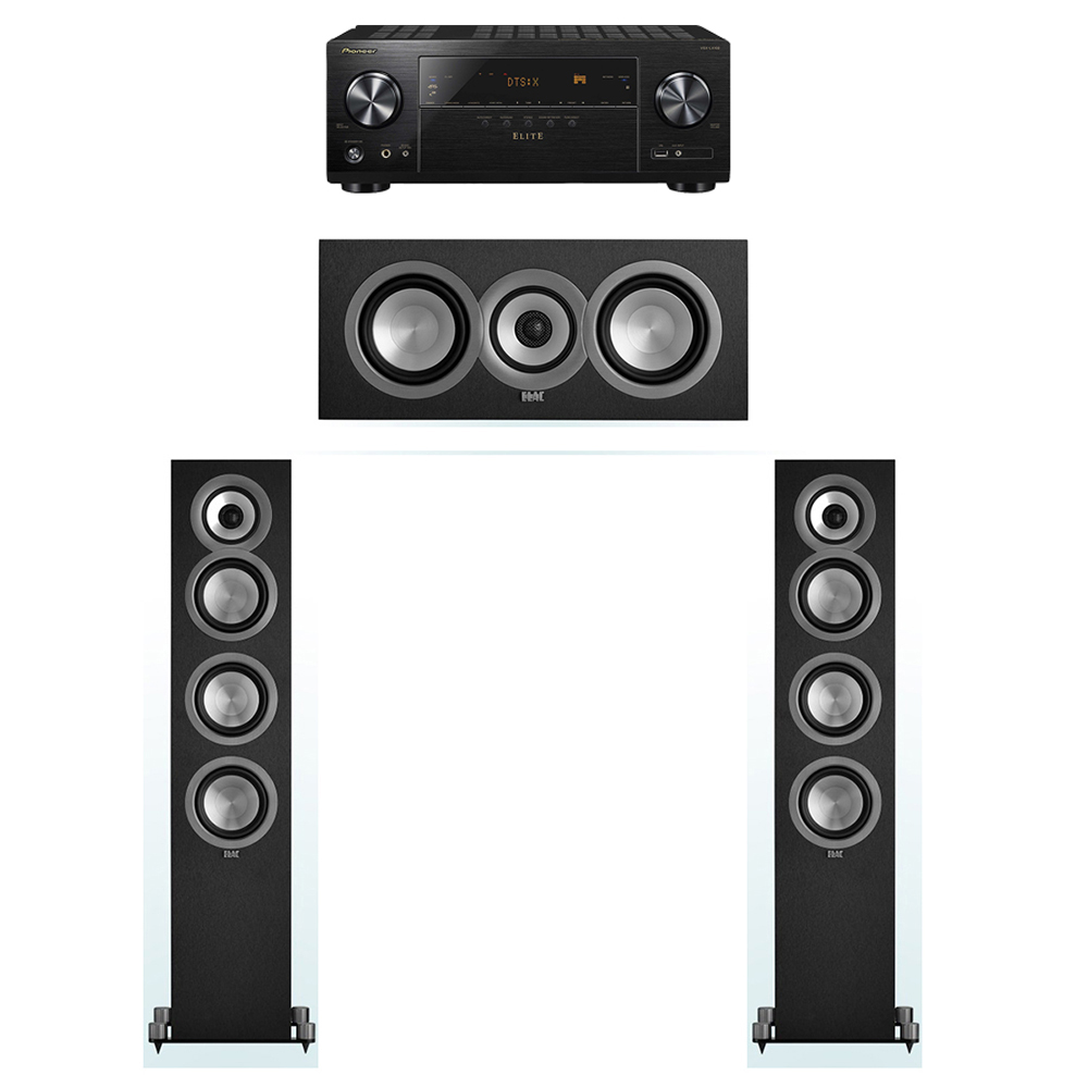 ELAC Uni-Fi 3.0 System with 2 ELAC UF5 Floorstanding Speakers, 1 UC5 Center Speaker, 1 Pioneer VSX-LX302 A/V Receiver