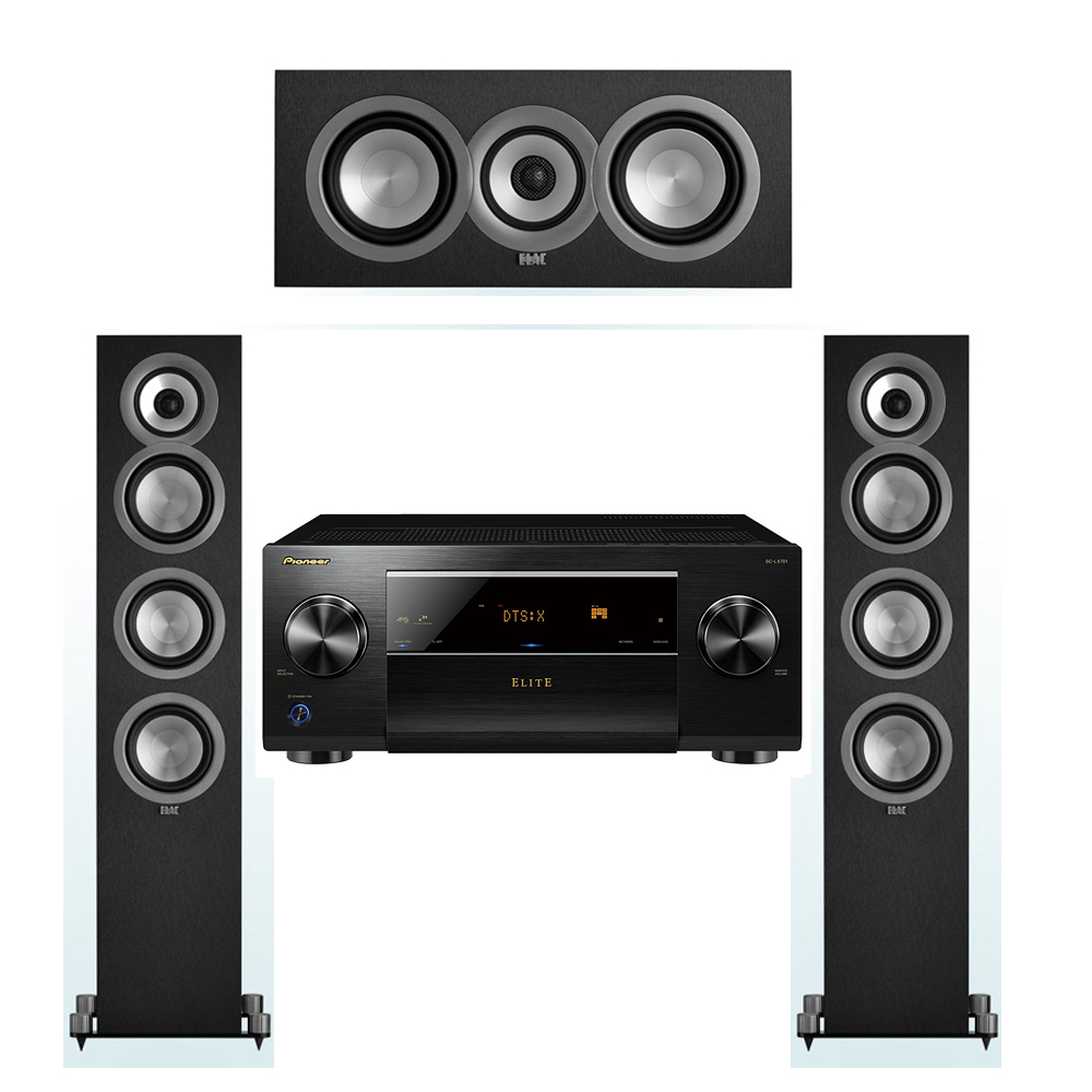 ELAC Uni-Fi 3.0 System with 2 ELAC UF5 Floorstanding Speakers, 1 UC5 Center Speaker, 1 Pioneer SC-LX701 A/V Receiver