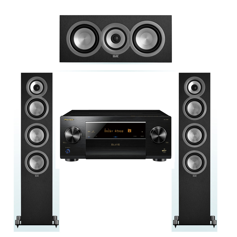 ELAC Uni-Fi 3.0 System with 2 ELAC UF5 Floorstanding Speakers, 1 UC5 Center Speaker, 1 Pioneer SC-LX801 A/V Receiver