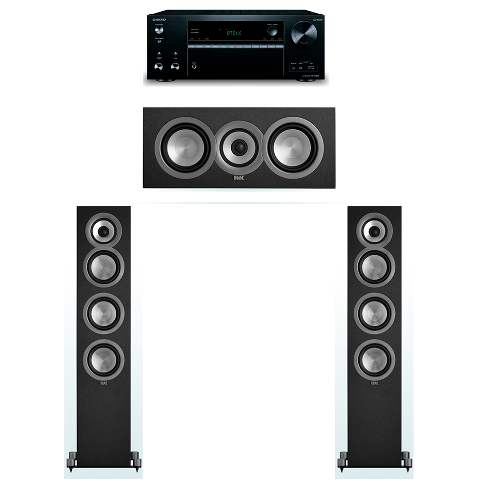 ELAC Uni-Fi 3.0 System with 2 UF5 Floorstanding Speakers, 1 UC5 Center Speaker, 1 Onkyo TX-NR676 A/V Receiver