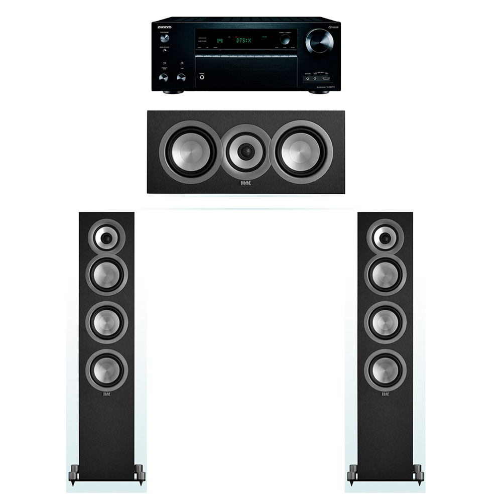 ELAC Uni-Fi 3.0 System with 2 UF5 Floorstanding Speakers, 1 UC5 Center Speaker, 1 Onkyo TX-NR777 A/V Receiver