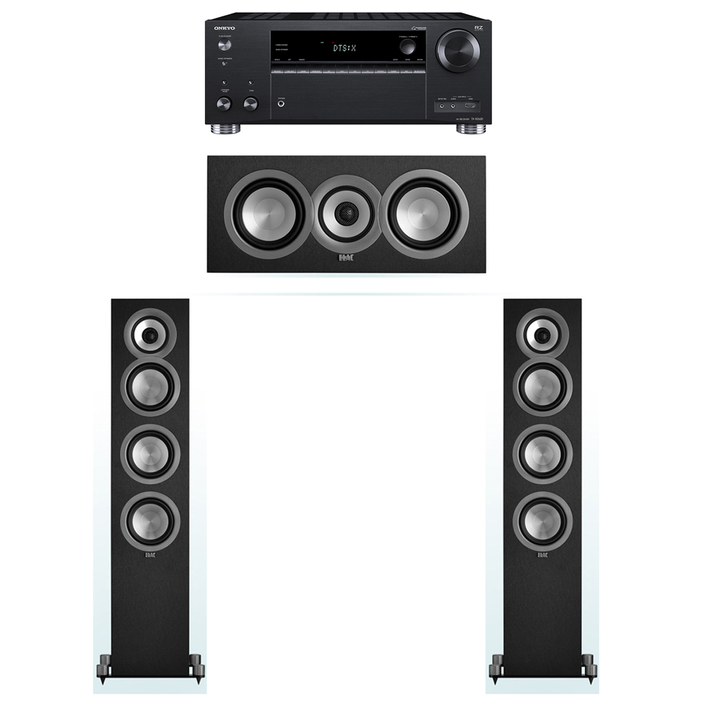 ELAC Uni-Fi 3.0 System with 2 UF5 Floorstanding Speakers, 1 UC5 Center Speaker, 1 Onkyo TX-RZ620 A/V Receiver