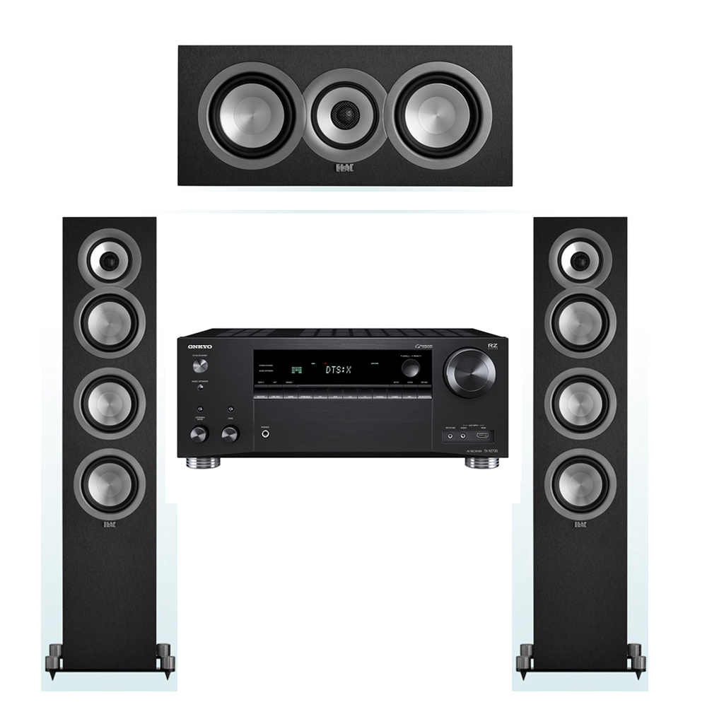 ELAC Uni-Fi 3.0 System with 2 UF5 Floorstanding Speakers, 1 UC5 Center Speaker, 1 Onkyo TX-RZ720 Receiver