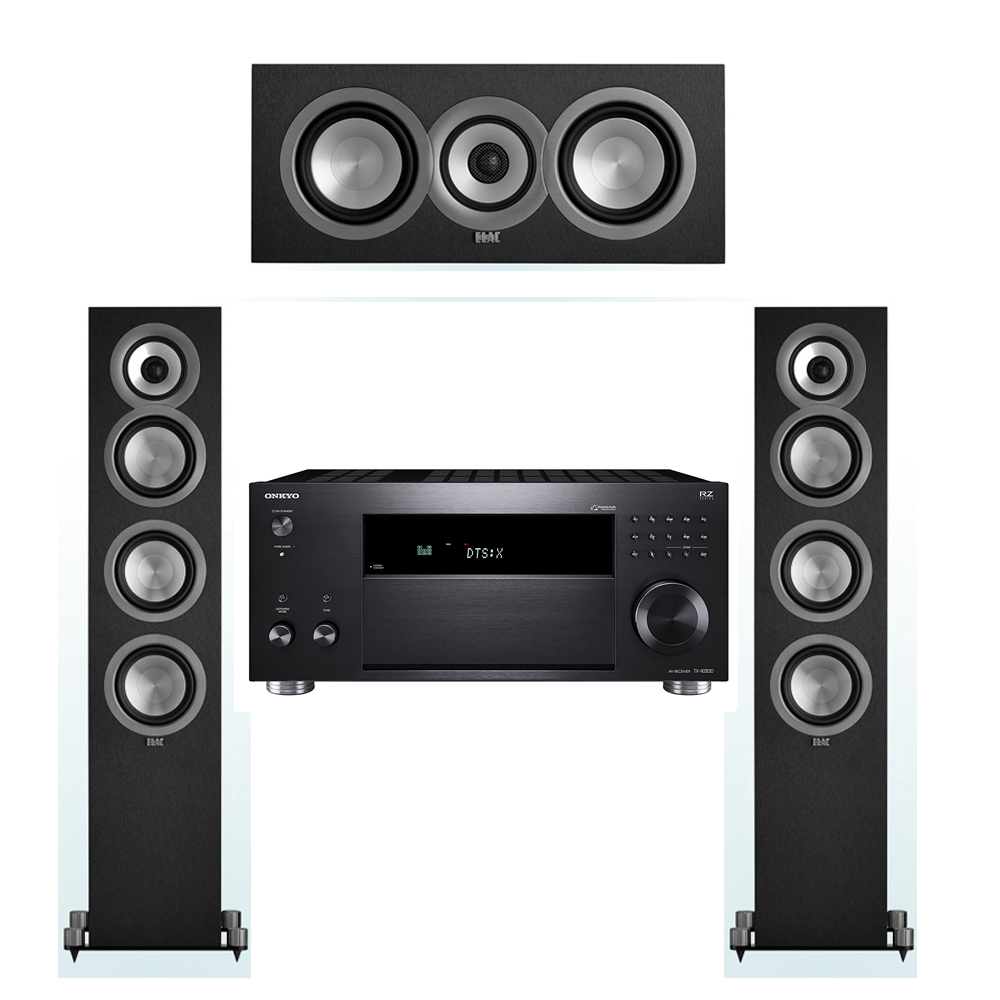 ELAC Uni-Fi 3.0 System with 2 UF5 Floorstanding Speakers, 1 UC5 Center Speaker, 1 Onkyo TX-RZ820 A/V Receiver