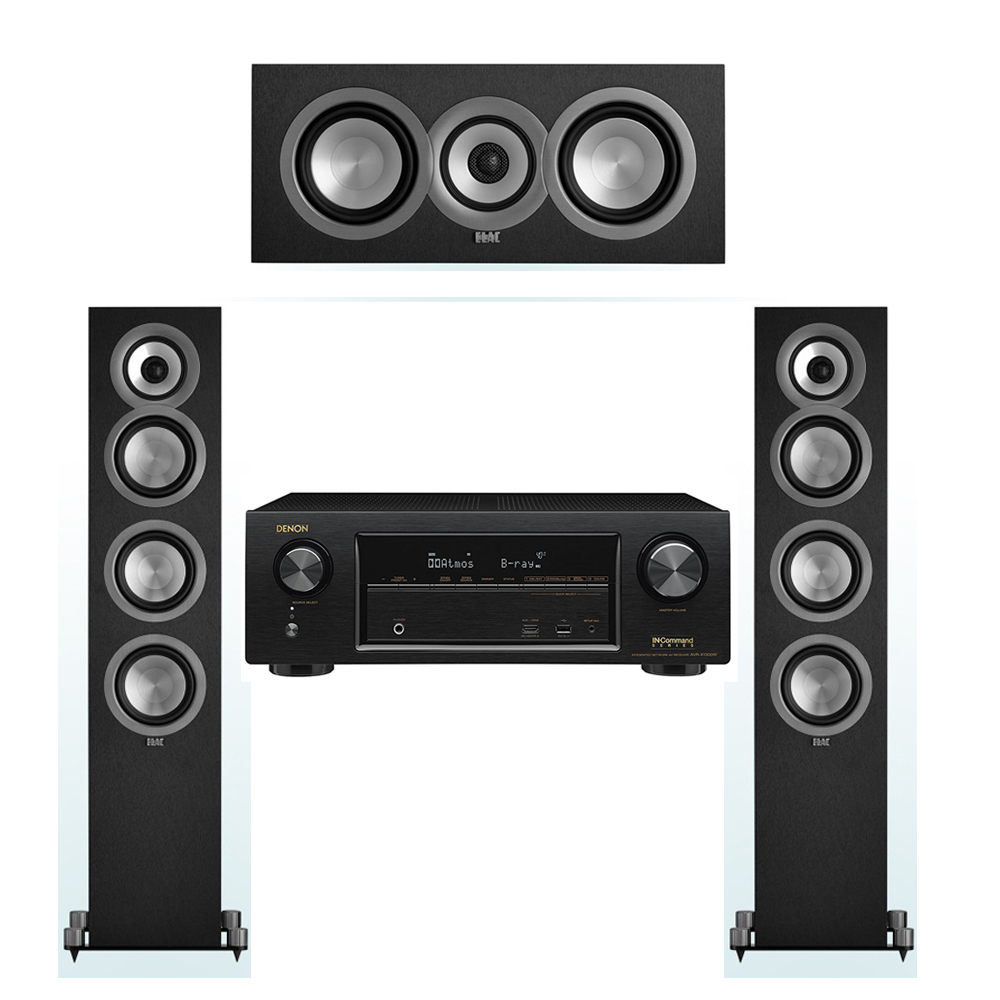 ELAC Uni-Fi 3.0 System with 2 ELAC UF5 Floorstanding Speakers, 1 ELAC UC5 Center Speaker, 1 Denon AVR-X1300W Receiver