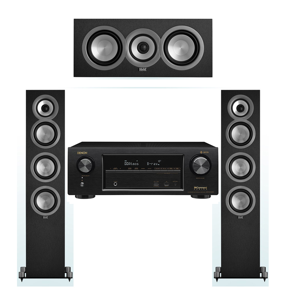 ELAC Uni-Fi 3.0 System with 2 ELAC UF5 Floorstanding Speakers, 1 ELAC UC5 Center Speaker, 1 Denon AVR-X1400H Receiver