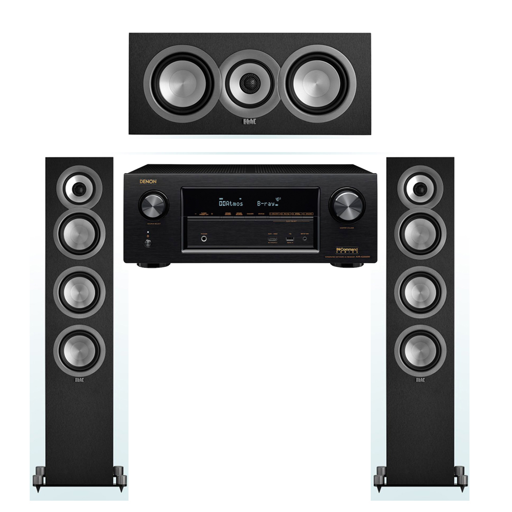 ELAC Uni-Fi 3.0 System with 2 ELAC UF5 Floorstanding Speakers, 1 ELAC UC5 Center Speaker, 1 Denon AVR-X2300W A/V Receiver