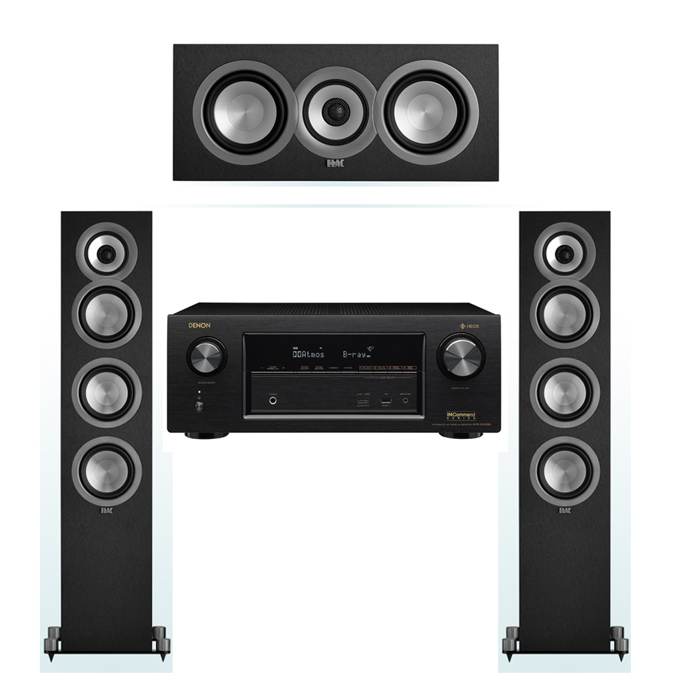 ELAC Uni-Fi 3.0 System with 2 ELAC UF5 Floorstanding Speakers, 1 ELAC UC5 Center Speaker, 1 Denon AVR-X2400H A/V Receiver