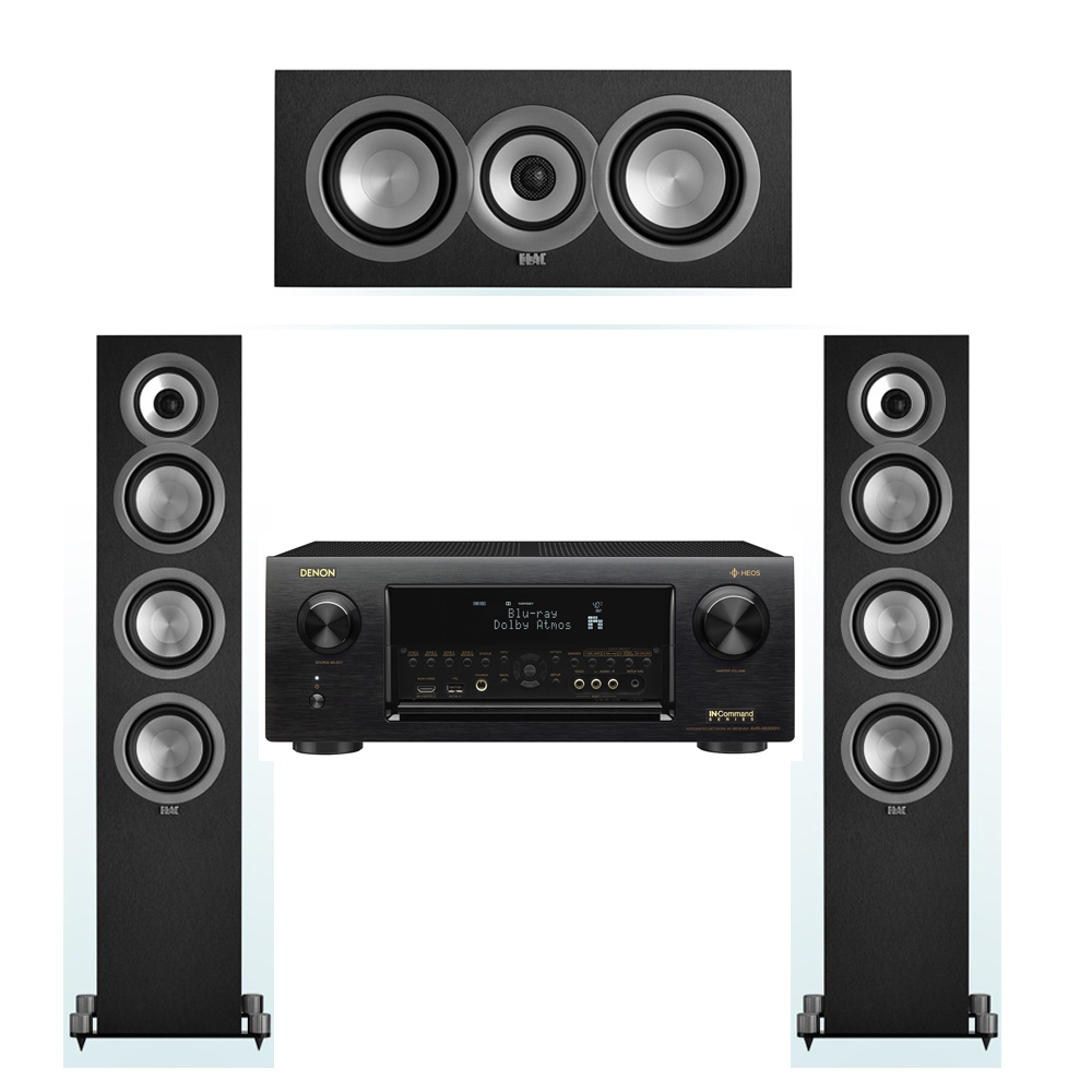 ELAC Uni-Fi 3.0 System with 2 ELAC UF5 Floorstanding Speakers, 1 ELAC UC5 Center Speaker, 1 Denon AVR-X6300H Receiver