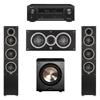 Elac 3.1 System with 2 Debut F5 Floorstanding Speakers, 1 Debut C5 Center Speaker, 1 BIC/Acoustech Platinum Series PL-200 Subwoofer, 1 Denon AVR-X1300W A/V Receiver