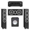 Elac 3.1 System with 2 Debut F6 Floorstanding Speakers, 1 Debut C5 Center Speaker, 1 Premier Acoustic PA-150 Subwoofer, 1 Denon AVR-X1300W A/V Receiver