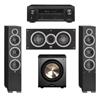 Elac 3.1 System with 2 Debut F6 Floorstanding Speakers, 1 Debut C5 Center Speaker, 1 BIC/Acoustech Platinum Series PL-200 Subwoofer, 1 Denon AVR-X1300W A/V Receiver