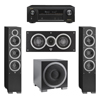 Elac 3.1 System with 2 Debut F6 Floorstanding Speakers, 1 Debut C5 Center Speaker, 1 Debut S10EQ Subwoofer, 1 Denon AVR-X1300W A/V Receiver