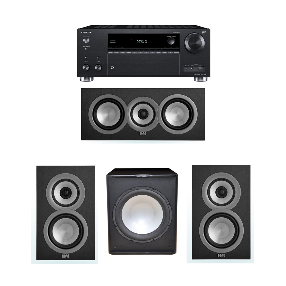 ELAC Uni-Fi 3.1 System with 2 UB5 Bookshelf Speakers, 1 UC5 Center Speaker, 1 Premier Acoustic PA-150 Subwoofer, 1 Onkyo TX-RZ620 A/V Receiver