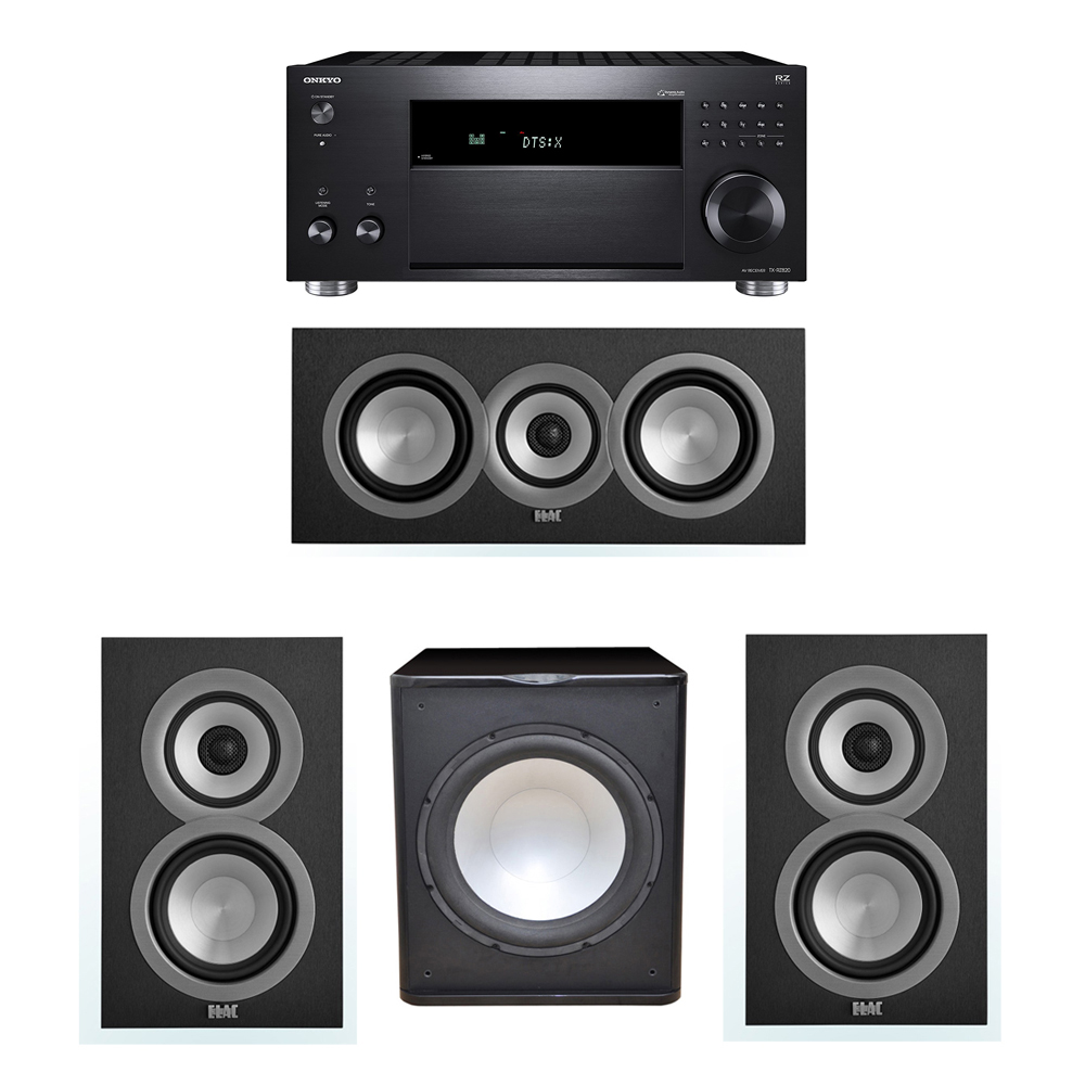 ELAC Uni-Fi 3.1 System with 2 UB5 Bookshelf Speakers, 1 UC5 Center Speaker, 1 Premier Acoustic PA-150 Subwoofer, 1 Onkyo TX-RZ820 A/V Receiver