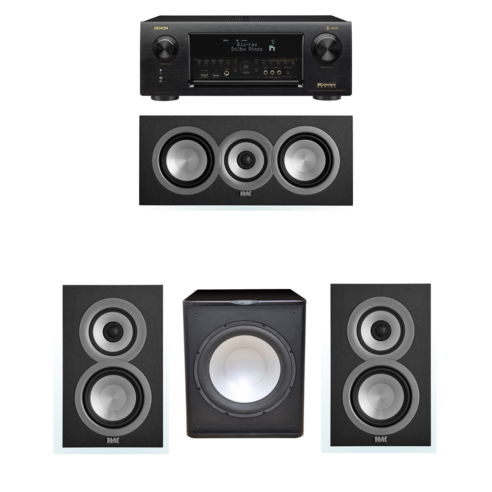 ELAC Uni-Fi 3.1 System with 2 ELAC UB5 Bookshelf Speakers, 1 ELAC UC5 Center Speaker, 1 Premier Acoustic PA-150 Subwoofer, 1 Denon AVR-X6300H Receiver
